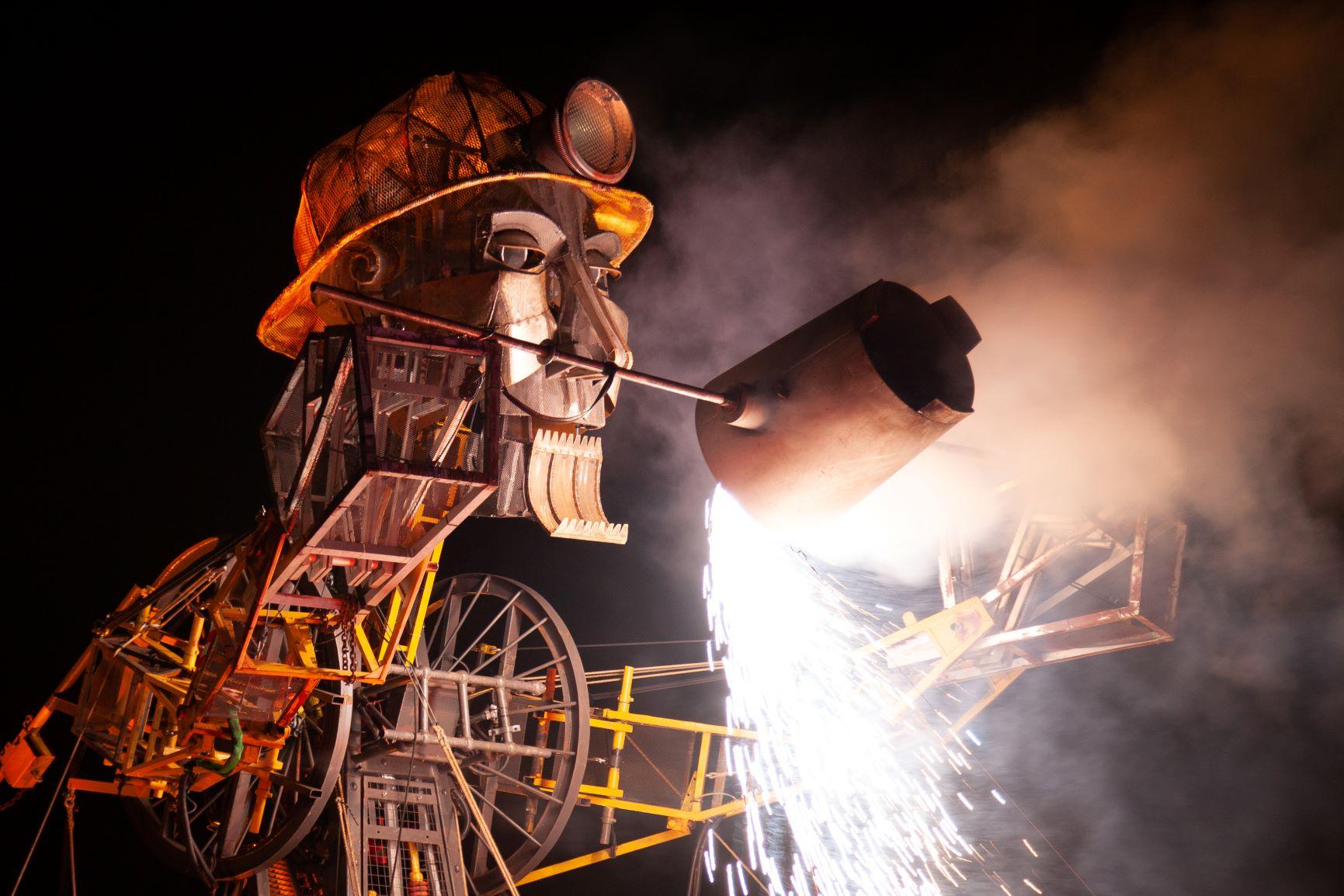 Man Engine Cymru finale at Hafod-Morfa Copperworks